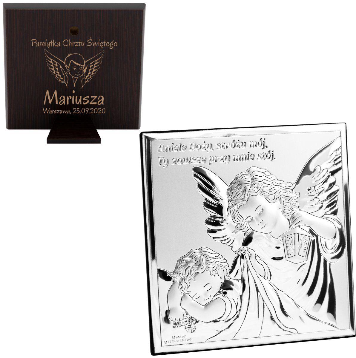 Srebrny Obrazek Anioł Stróż z latarenką 10x10 cm Pamiątka na chrzest z Grawerem