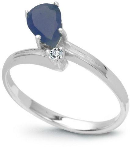 Srebrny staviori pierścionek. 1 szafir, masa 0,80 ct.. cyrkonia. srebro rodowane 0,925.