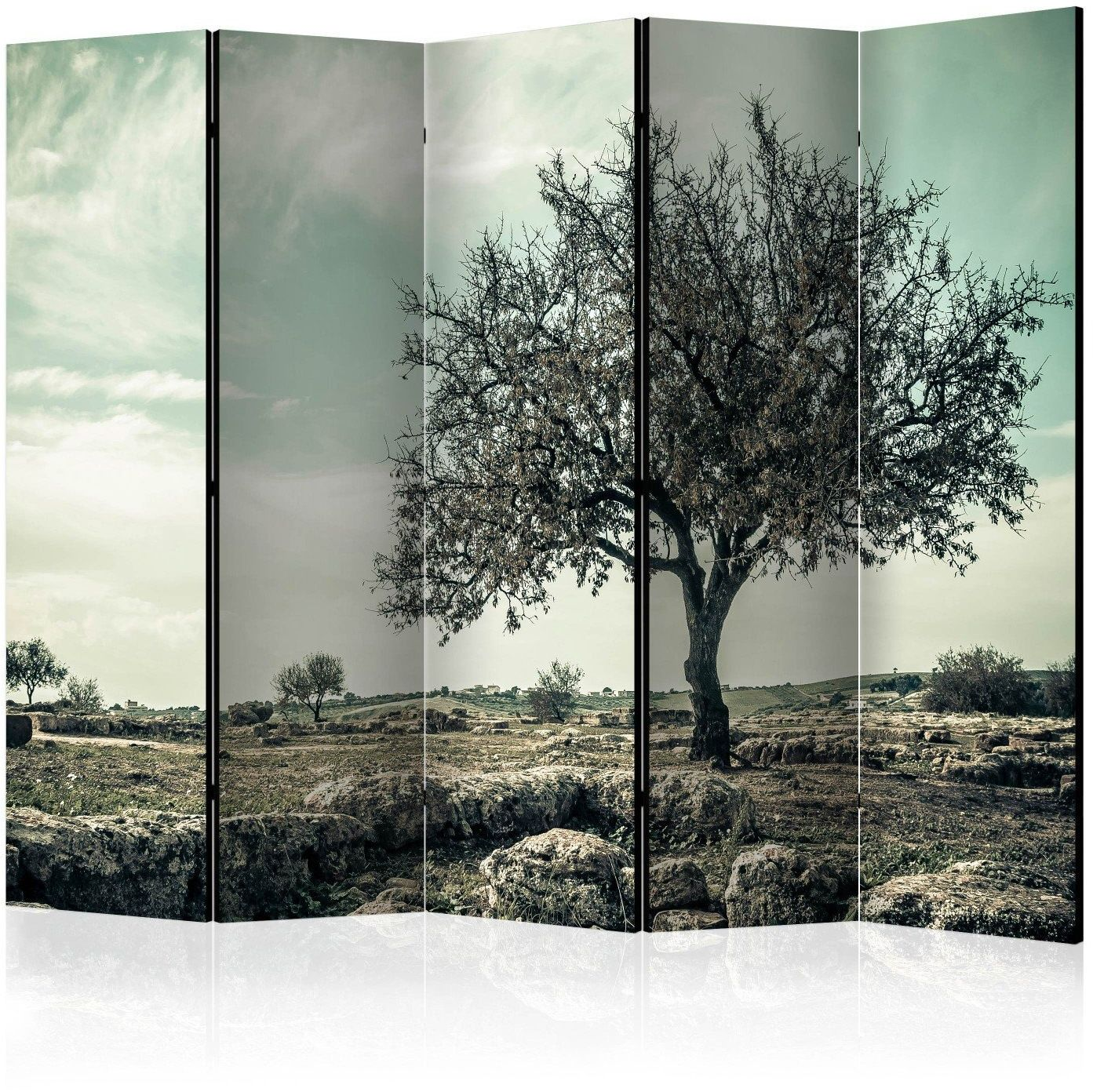 Parawan 5-częściowy - drzewo - vintage ii [room dividers]