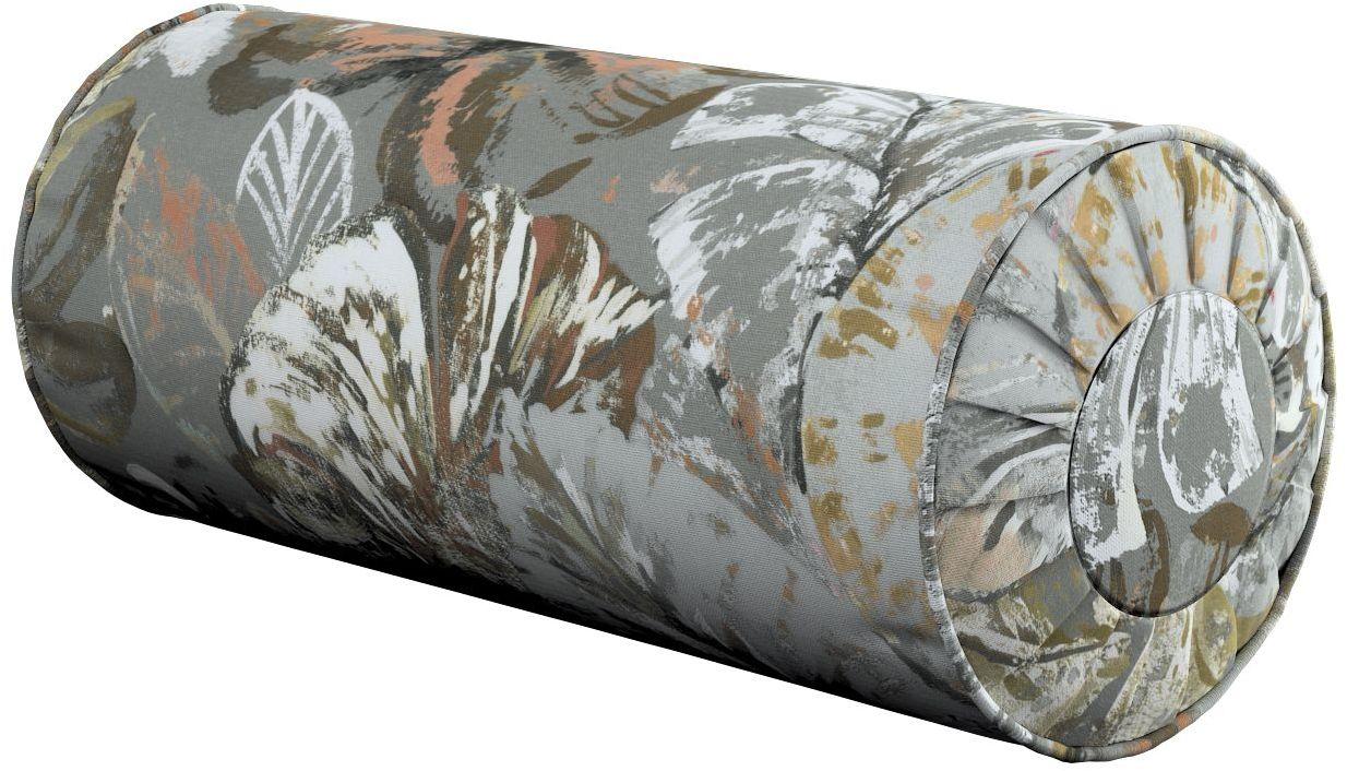 Poduszka wałek z zakładkami, brązowe, beżowe, morelowe kwiaty na szarym tle, Ø20  50 cm, Abigail