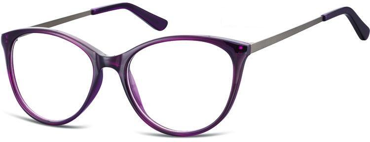 Okulary oprawki zerówki korekcyjne Kocie Unisex Sunoptic AC27E ciemnofioletowe