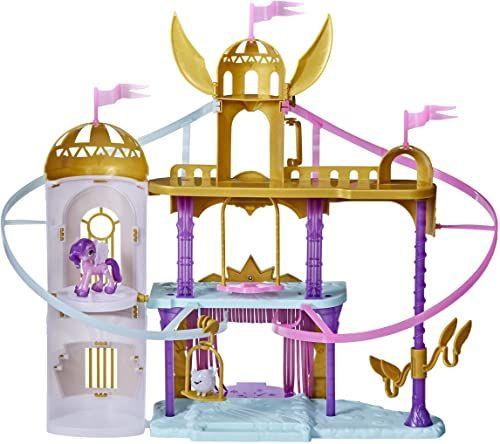 Zamek królewski z linami do zjeżdżania z filmu My Little Pony: Nowe pokolenie, zestaw do zabawy z zamkiem o wysokości 56 cm, z 2 ruchomymi linami do zjeżdżania, figurka Księżniczki Petals