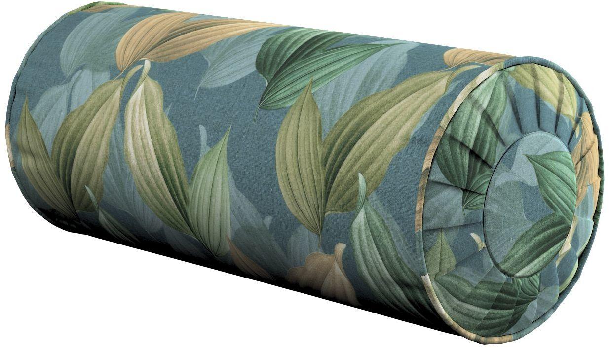 Poduszka wałek z zakładkami, zielone, beżowe liście na niebiesko-zielonym tle, Ø20  50 cm, Abigail