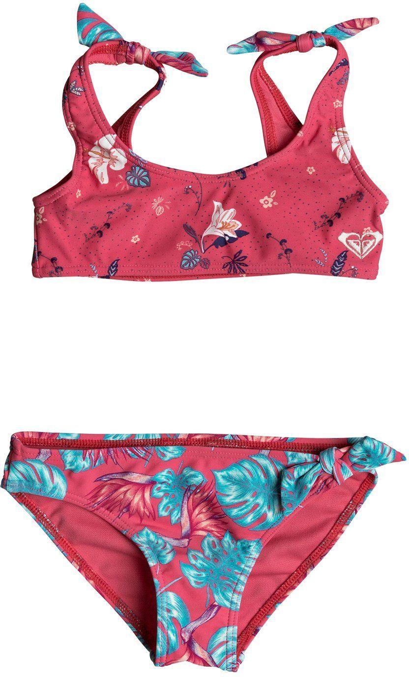 dwuczęściowy strój kąpielowy dla dzieci ROXY ROXY MERMAID Rouge Red Tropicool - MLJ8