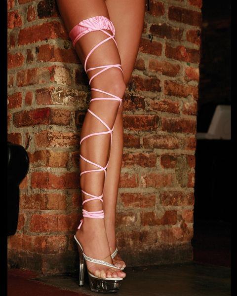 Electric Lingerie Twisted Leg Garter - Pink Lace Garter