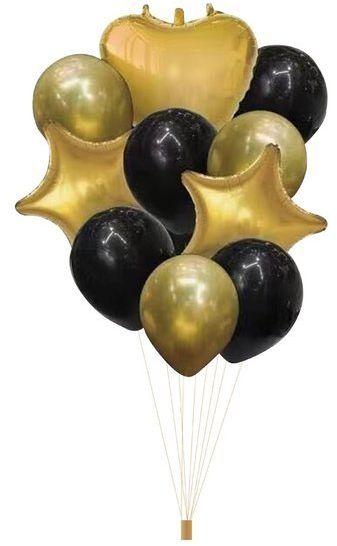 Zestaw balonów złote i czarne 10 sztuk 400363