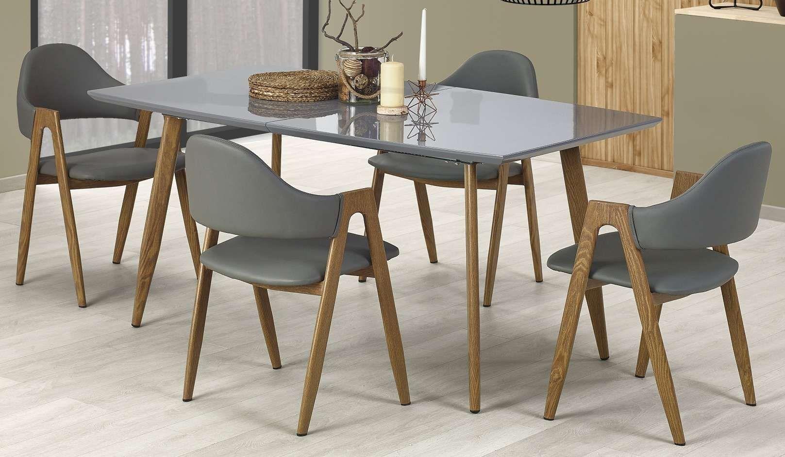 Zestaw: stół rozkładany Ruten i 4 krzesła K247 Halmar (szary)