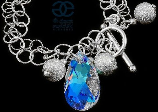 Kryształy piękna bransoletka BLUE AURORA SREBRO