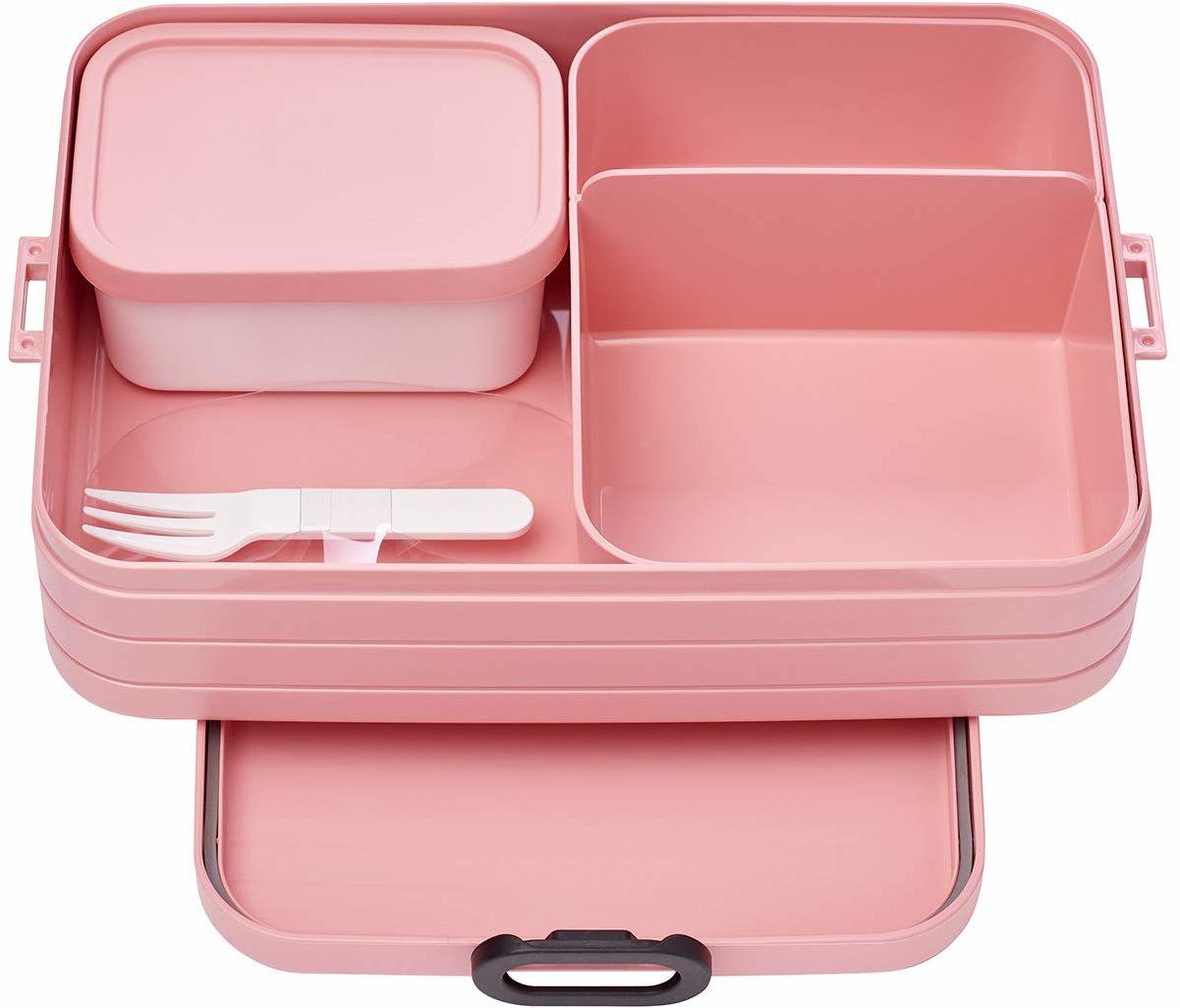 Mepal Bento-Take A Break Nordic Pink Large  pojemnik na kanapki z przegródkami, nadaje się do 8 kanapek, TPE/pp/ABS, różowy, 0 mm