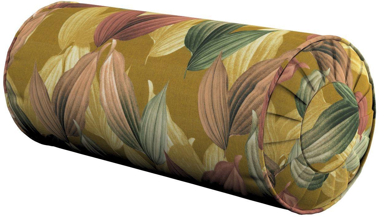 Poduszka wałek z zakładkami, kolorowe liście na musztardowym tle, Ø20  50 cm, Abigail