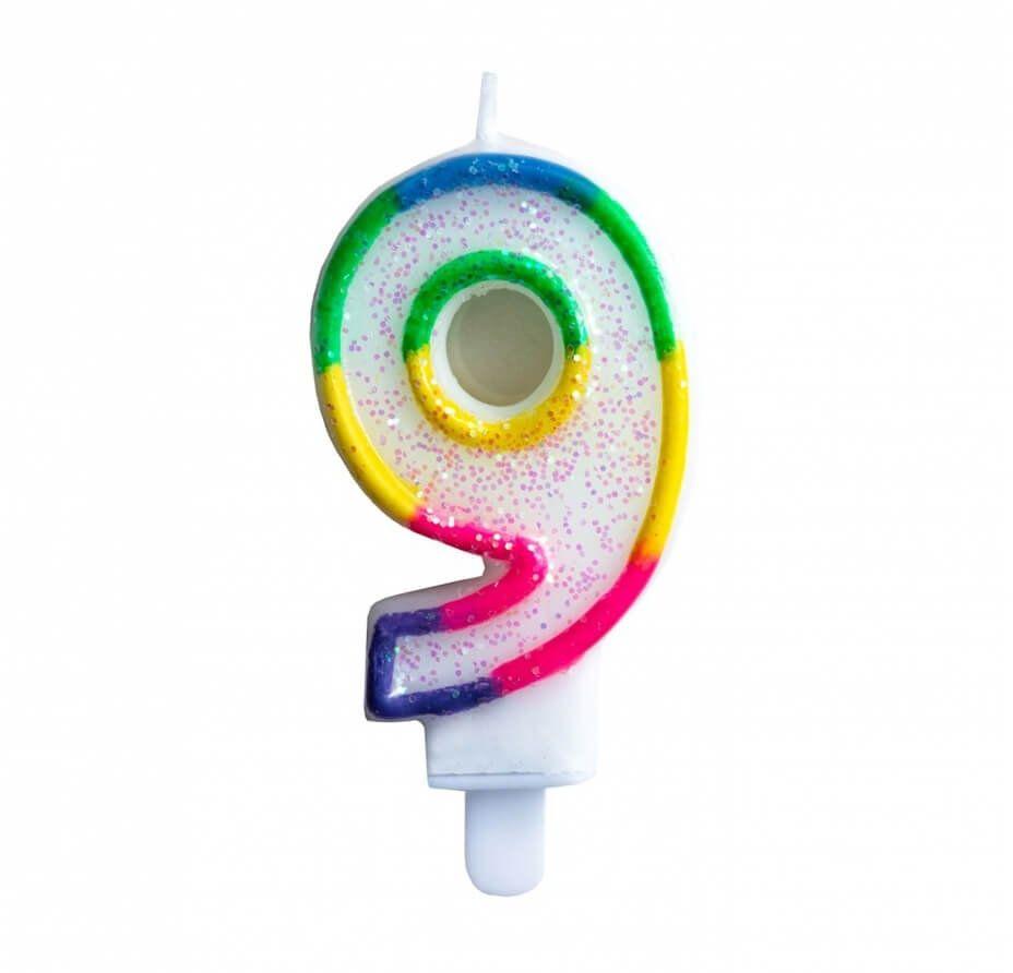 Świeczka cyferka brokatowa z tęczową obwódką 9 - 1 szt.