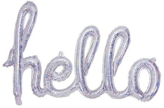Balon foliowy hello holograficzny 72x45cm 1szt FB5H-016H