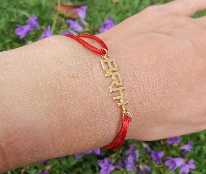 1093 bransoletka z grupą krwi dowolną, złota na sznureczku s. 925