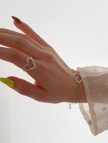 Serce III - pierścionek srebrny