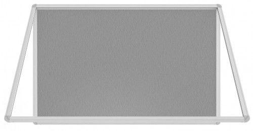 Gablota ogłoszeniowa informacyjna 90x60cm szara filcowa w aluminiowej ramie