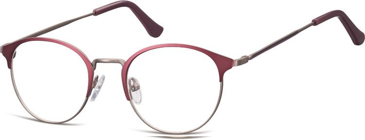 Oprawki okularowe Lenonki damskie stalowe Sunoptic 973E fioletowo-grafitowe