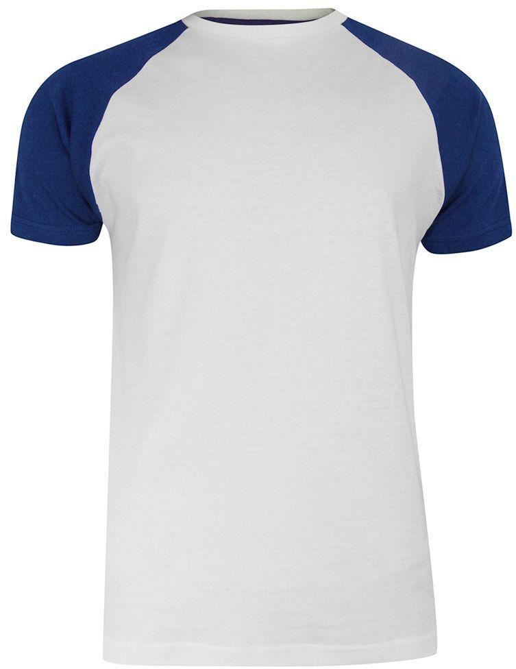 T-shirt Biało-Granatowy Bawełniany, Krótki Rękaw Raglanowy, Dwukolorowy, Męski -BRAVE SOUL TSBRSSS21BAPTISTwhiteNavy