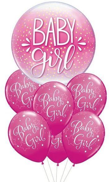 Zestaw balonów na Roczek dziewczynki różowe 7 sztuk 460241