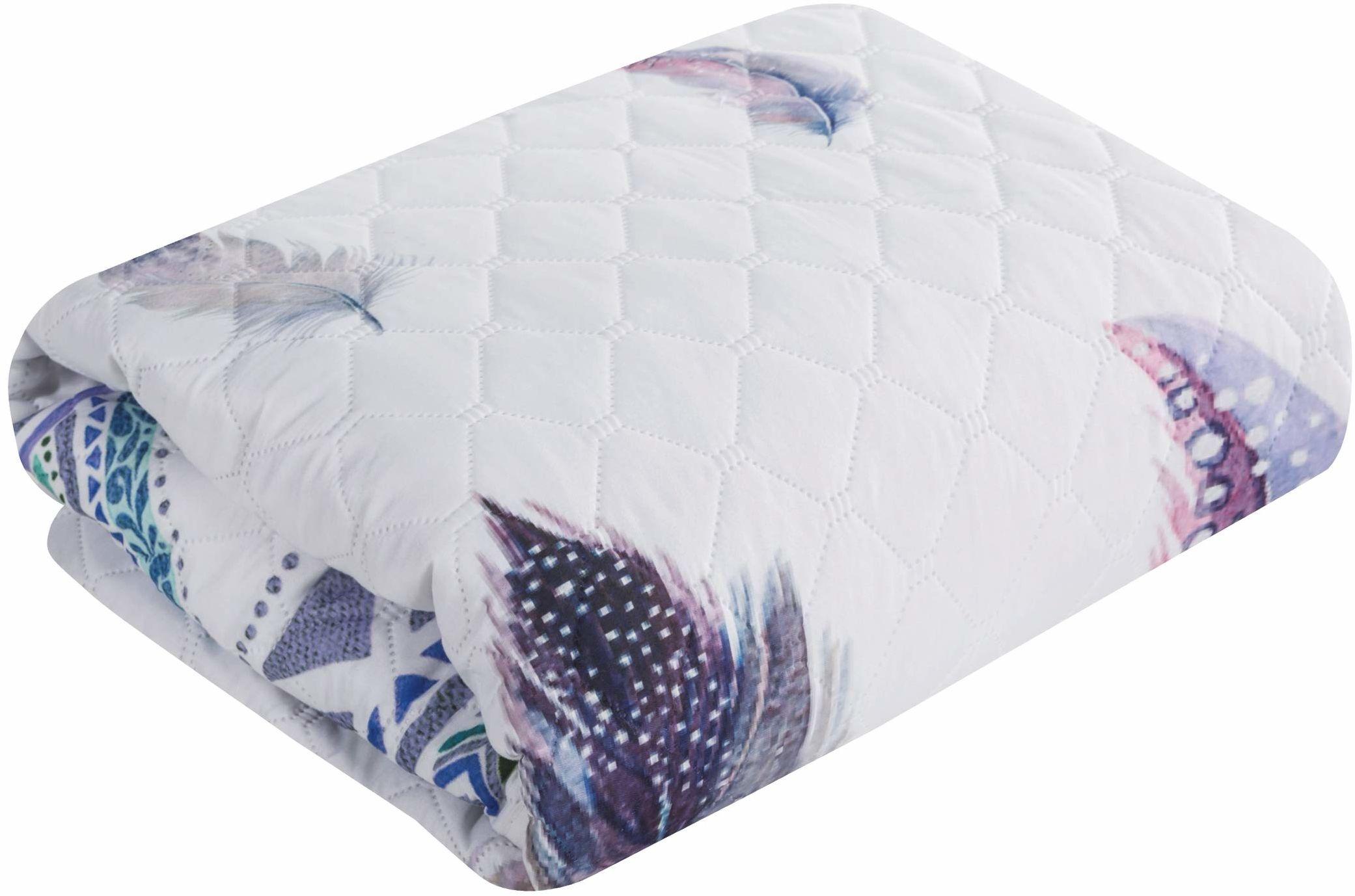 Design91 narzuta na łóżko, biała, kolorowa, pióra, miękka, pikowana, do sypialni, salonu, pokoju dziecięcego, kolor srebrny, 170 x 210 cm