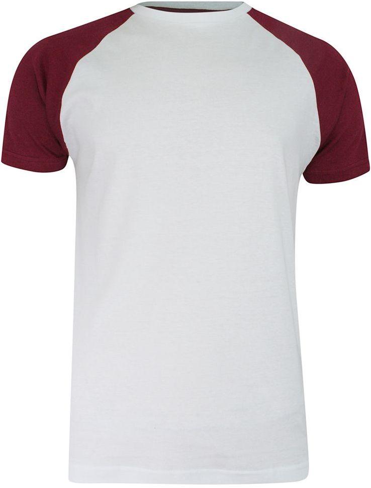 T-shirt Biało-Bordowy Bawełniany, Krótki Rękaw Raglanowy, Dwukolorowy, Męski -BRAVE SOUL TSBRSSS21BAPTISTwhiteBurgundy