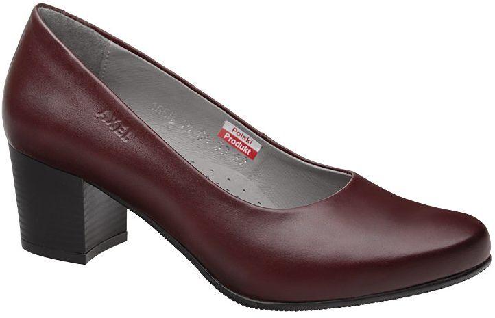 Czółenka na obcasie buty AXEL Comfort 1666 Rubinowe na Haluksy