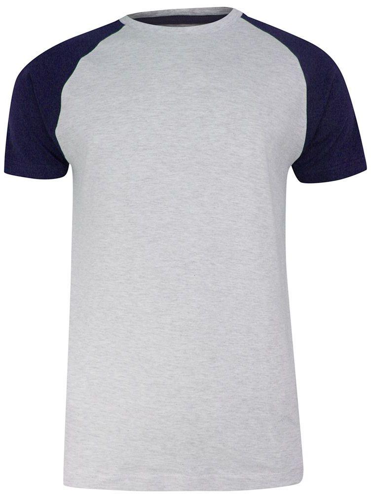T-shirt Szaro-Granatowy Bawełniany, Krótki Rękaw Raglanowy, Dwukolorowy, Męski -BRAVE SOUL TSBRSSS21BAPTISTgreyNavy