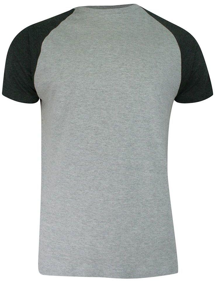 T-shirt Szaro-Popielaty Bawełniany, Krótki Rękaw Raglanowy, Dwukolorowy, Męski -BRAVE SOUL TSBRSSS21BAPTISTgreyCharcoal