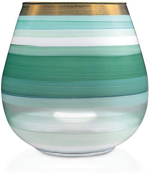 Angela Neue Wiener Werkstätte Świecznik Vesuvio miętowy wazon z kolorowego szkła, zielony, 15 cm