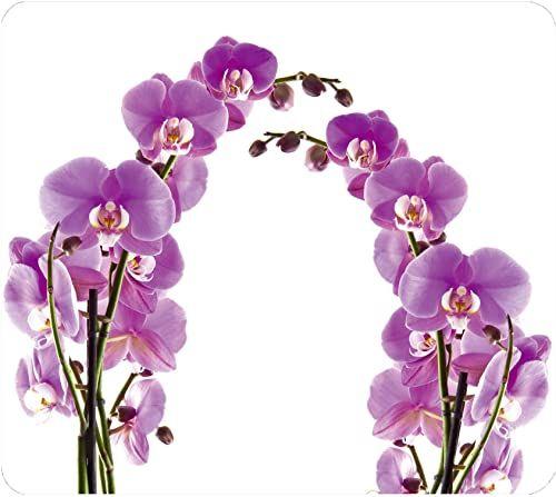 WENKO Multi-płyta kwiat storczyka  do płyt ceramicznych ceramicznych, deska do krojenia, osłona ścienna, szkło hartowane, 56 x 0,5 x 50 cm, wielokolorowa
