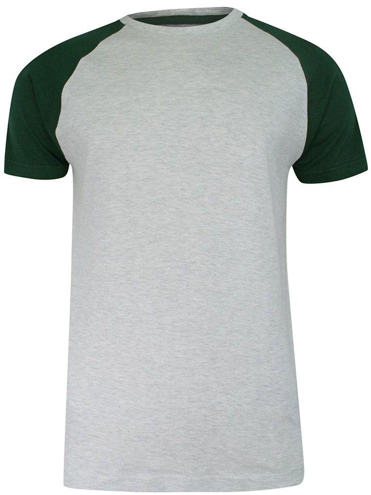 T-shirt Szaro-Zielony Bawełniany, Krótki Rękaw Raglanowy, Dwukolorowy, Męski -BRAVE SOUL TSBRSSS21BAPTISTecruGreen