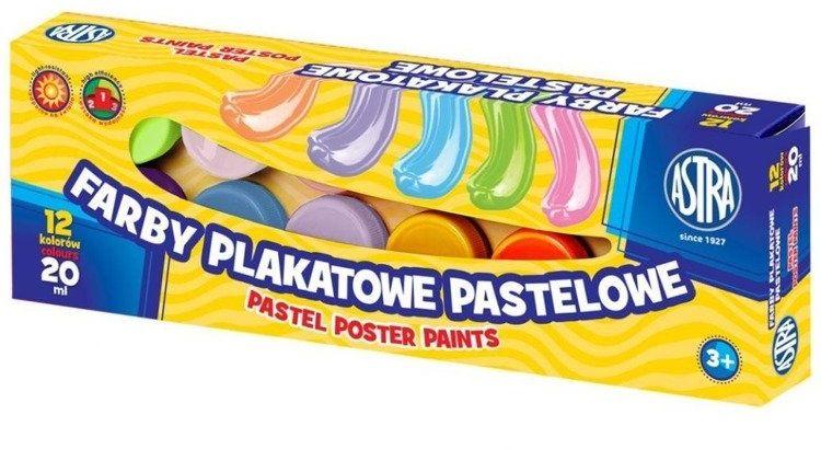 Farby plakatowe pastelowe 12 kolorów 20ml ASTRA - ASTRA papiernicze