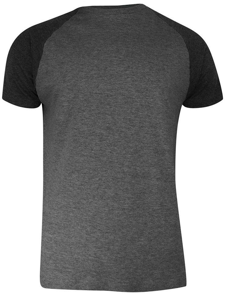 T-shirt Popielato-Czarny Bawełniany, Krótki Rękaw Raglanowy, Dwukolorowy, Męski -BRAVE SOUL TSBRSSS21BAPTISTcharcoalBlack