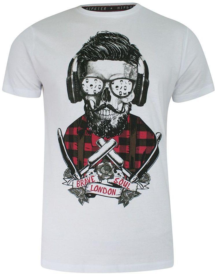 T-shirt Biały Bawełniany, z Nadrukiem, Barber w Okularach, Hipster, Krótki Rękaw, Męski -BRAVE SOUL TSBRSSS21APOGEopticwhite