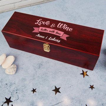 Love & wine - Skrzynka na wino z akcesoriami