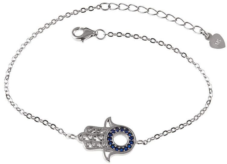 Elegancka rodowana srebrna bransoleta celebrytka dłoń fatimy cyrkonie srebro 925 B0602