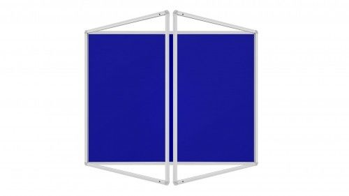 Gablota ogłoszeniowa informacyjna 120x120cm niebieska filcowa w aluminiowej ramie dwuskrzydłowa