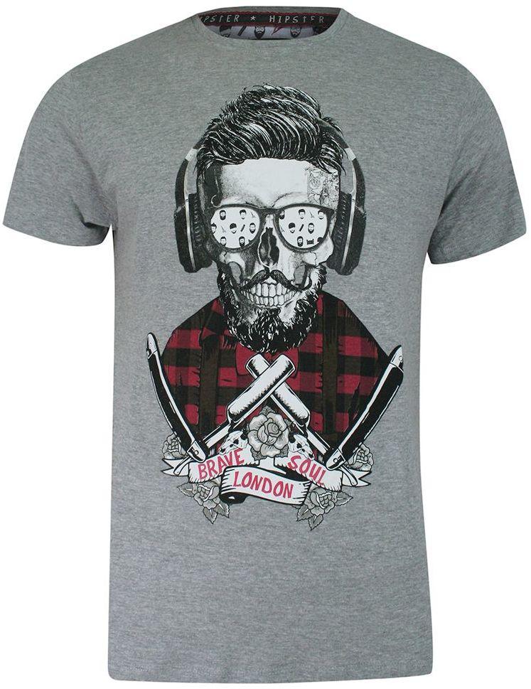 T-shirt Szary Bawełniany, z Nadrukiem, Hipster, Barber w Okularach, Krótki Rękaw, Męski -BRAVE SOUL TSBRSSS21APOGEltgrey