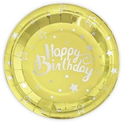 Talerzyki papierowe Happy Birthday złote 18cm 6 sztuk 511138