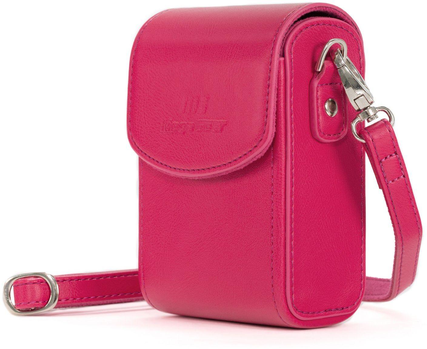 MegaGear MG1256 Nikon Coolpix A1000, A900 skórzana torba na aparat z paskiem do noszenia - różowa