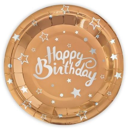 Talerzyki papierowe Happy Birthday rose gold 18cm 6 sztuk 511140