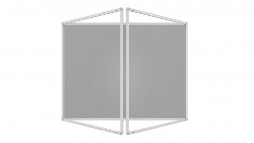 Gablota ogłoszeniowa informacyjna 120x120cm szara filcowa w aluminiowej ramie dwuskrzydłowa