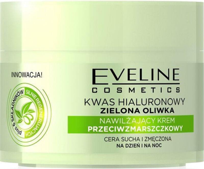 Eveline Cosmetics - Nawilżający krem przeciwzmarszczkowy do twarzy z kwasem hialuronowym i zieloną oliwkę - 50 ml
