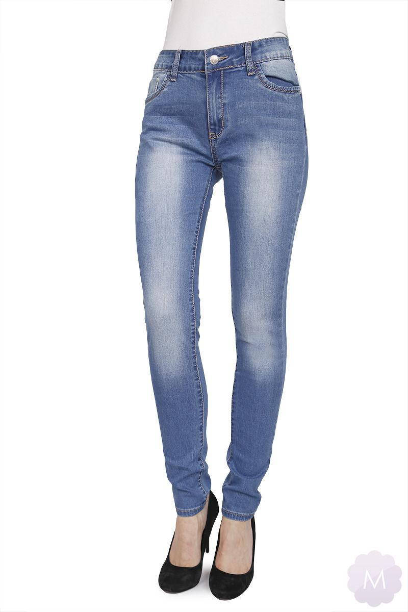 Elastyczne spodnie jeansowe rurki niebieskie wytarte (SD046)