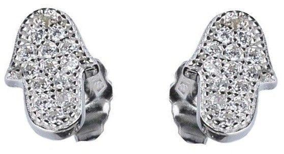 Eleganckie rodowane srebrne kolczyki celebrytki dłoń fatimy ręka cyrkonie srebro 925 463E6743