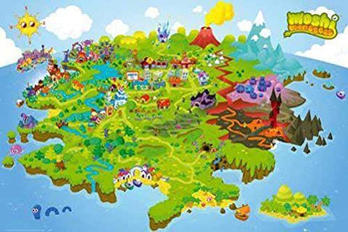 Empire 391957 plakat z grami 91,5 x 61 cm mapa świata potwory Moshi