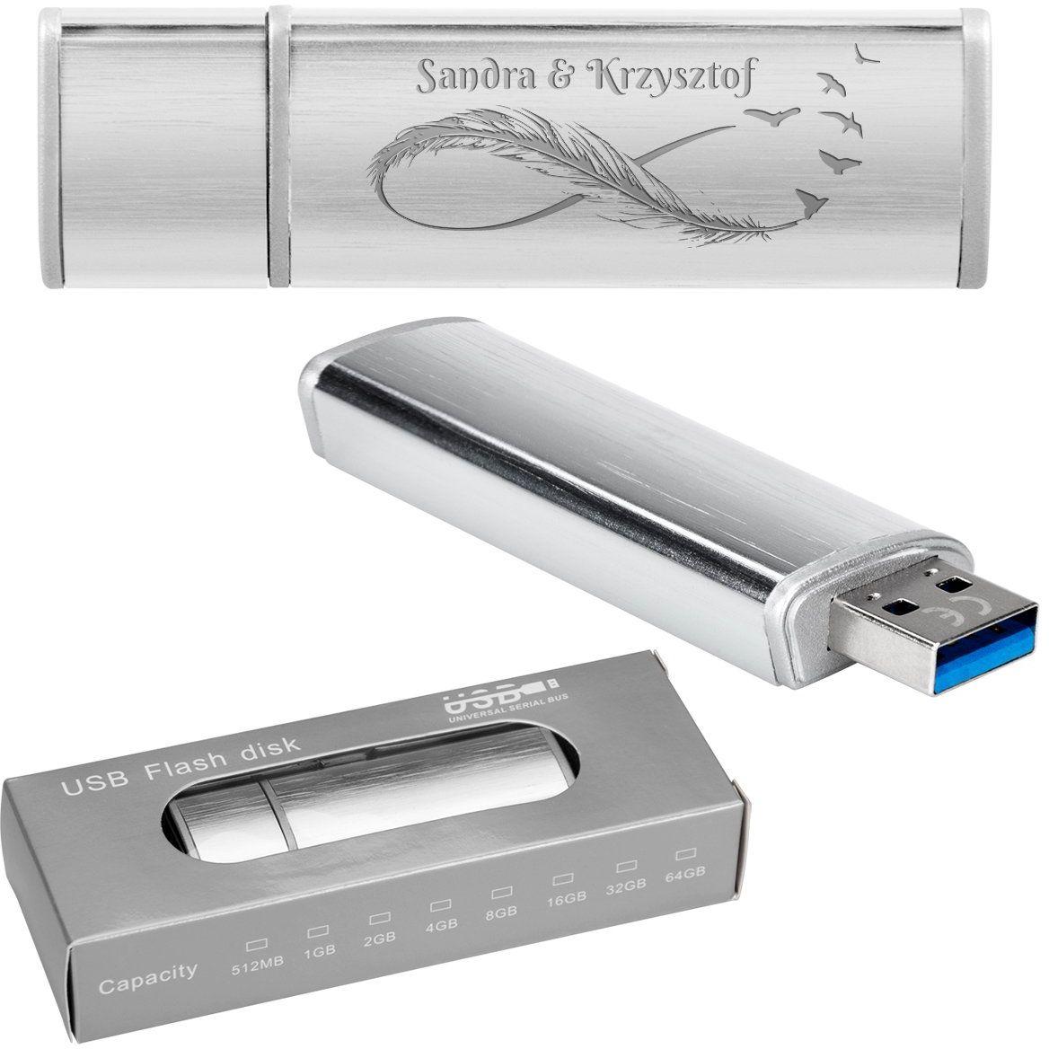 Pendrive srebrno-srebrny 64 GB Pamięć USB prezent z Grawerem