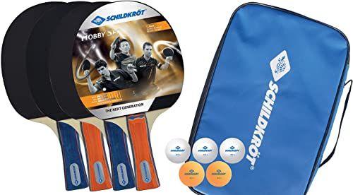 Donic-Schildkröt zestaw do tenisa stołowego hobby, dla 4 graczy (4 rakietki, 5 piłek, w torbie do przenoszenia, dobra jakość w czasie wolnym), 788603