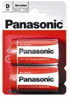 Baterie cynkowo-węglowe Panasonic R20 D - blister 2 sztuki