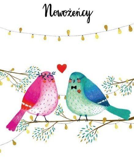 Karnet B6 Ślub - Ptaki - Henry