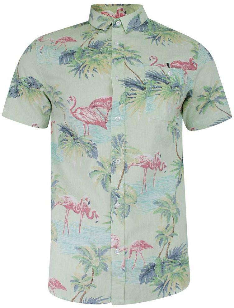Koszula Bawełniana Zielona we Flamingi, Casualowa z Krótkim Rękawem Prosty Krój Wakacyjna BRAVE SOUL KSKCBRSSS21CURRENTmulticolor